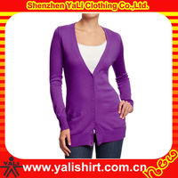Custom latest comfortable purple cotton blank pocket long women cardigan knitwear 2013