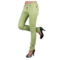 green colored skinny jeans for sexy ladies with OEM/ODM service wholesale jeans manufacturers