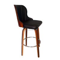 Modern round black leather high back bent-wood swival bar chair stool