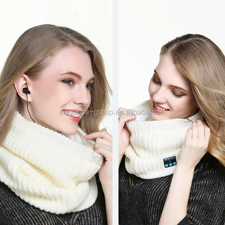 Latest Wireless Bluetooth Headphones scarf Earphones Headset With Mic Custom Knitted Beanie bluetooth scarf