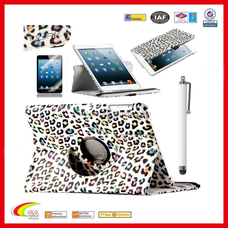 Leopard Stand smart leather case for ipad mini with factory price, stand leather case for ipad mini wholesales & manufacturers