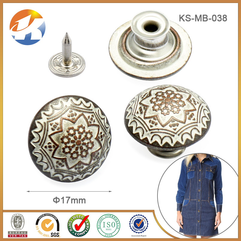 Wholesale Metal Jeans Button Cover