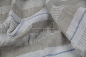 washed stripe linen fabric for women dress and blouse