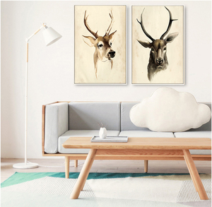Wood frames frameless for canvas prints of deer custom pictures hang on living room wall