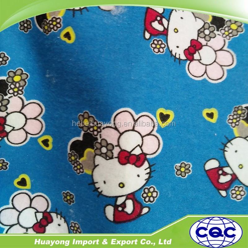 wholesale cotton hello kitty cat printed brushed flannel fabric