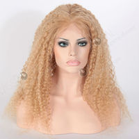 blonde afro kinky curly full lace wigs