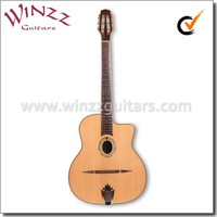 [WINZZ] Solid Cedar Top D hole Oval Hole Gypsy Jazz Guitar (AGJ60A)