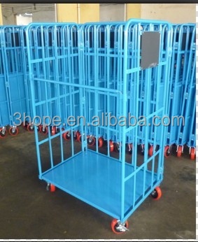 Powder folding logistic trolley, 4 wheels 500KGS warehouse cart with brake,warehouse trolley