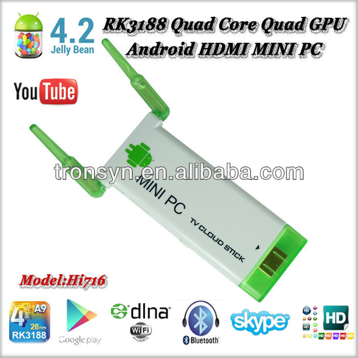 2013 RockChip RK3188 Quad Core ARM Cortex-A9 1.8GHz Android Smart TV Dongle With Dual WIFi Antenna and Android 4.2 OS