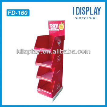 Promotional vertical four tray merchandiser for toys