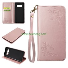 Hot Sell Card Slots Stand Mobile Cell Book PU Leather Pouch Wallet Flip Phone Cover Case For Samsung Galaxy Note 8