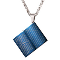 New Blue Bible Book Necklace Pendant Stainless Steel/Gold Plated Rope Chain Cross Christian Jewelry Men 2017 Wholesale