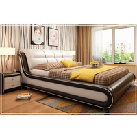 Italian Bedroom Set Furniture King Size Double Modern Leather Bed
