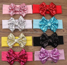 New Arrival Sequin Bow Cotton knot headband infant toddlers baby headband elastic cotton headbands