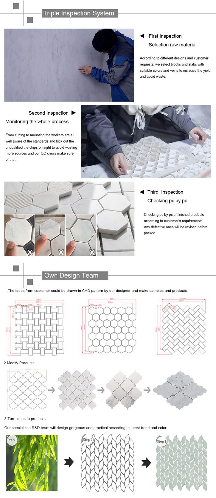 carrara waterjet marble mosaic tiles design floor pattern