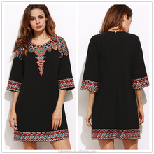 Black 3/4 sleeve embroidered tunic dress western tunic dress latest vintage enthic embroidered loose dress