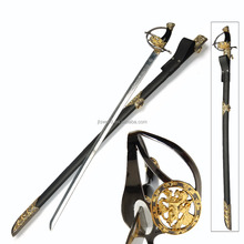 gold running horse decorative handle ceremonial sword with balck sheath