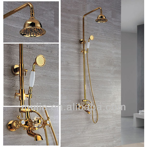 Modern solid brass exposed bathroom golden shower mixer tap with hand shower