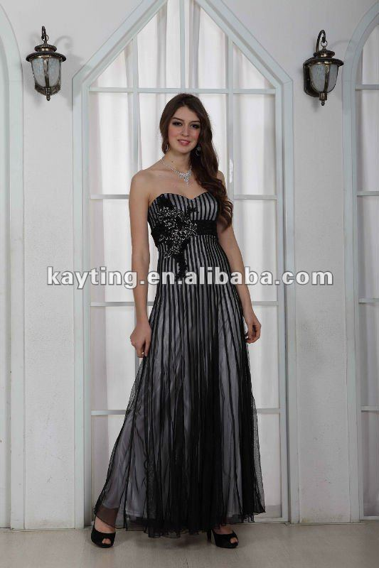Hight quality Strapless evening dress Prom dress Homecoming dress Black and White vertical stripes dress EchoLin1267