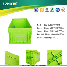 53L capacity eurosize heavy duty straight wall foldable plastic totes for sale