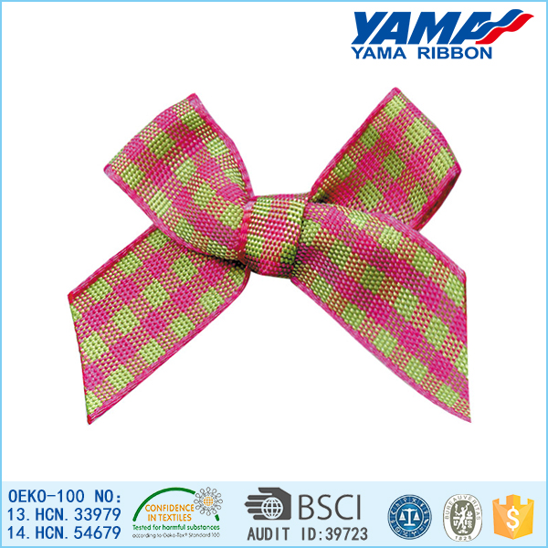 Wholesale fashion polyester gingham ribbon dog grooming bows
