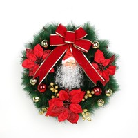 Christmas jewelry & colorful powder green PVC Plastic Christmas Wreath with Satin Ribbon
