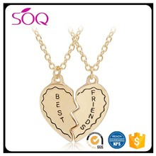 best gift for friend letter gold charm split heart pendant set making accessory for necklace