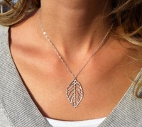 simple single leaf silver plated thin chain link pendant necklace charm women