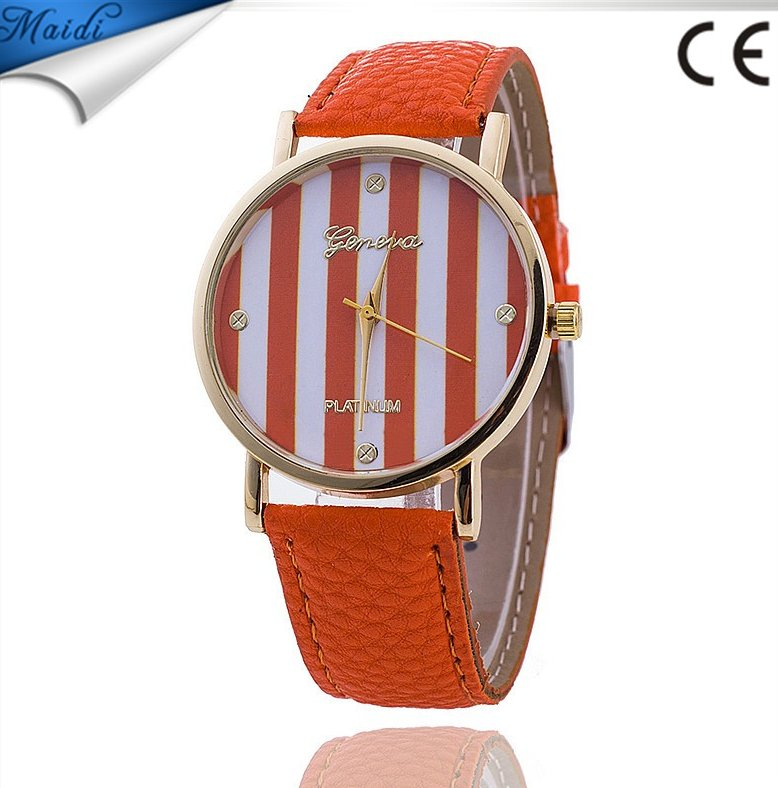 Stylish Casual Design Lady Stripes Watch Lady Wrist Watch Hot Sale Leather Band Lady Watch GW045