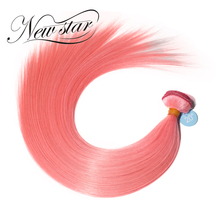 New Star Two Tone Ombre Hair Straight Remy Malaysian Human Hair Extensions Color T1B/Pink
