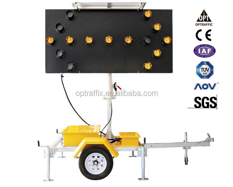 OPTRAFFIC 1 Solar Warning Light Led Trailer Directional Sign Traffic Control Safety Arrow Board
