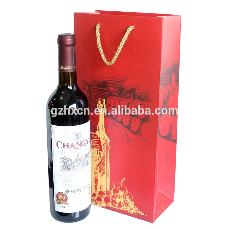 custom paper single wine bags, elegant wine gift paper bag