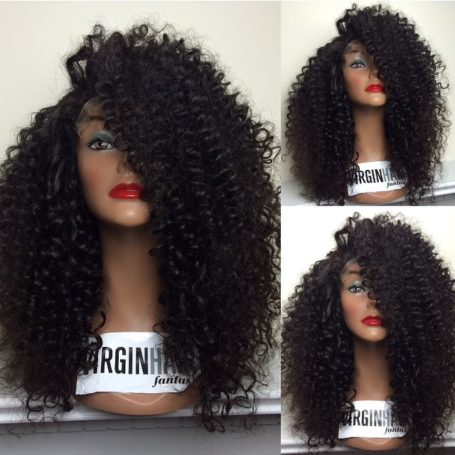 brazilian virgin hair HW-231 tight curly natural color full lace human hair wig for black women