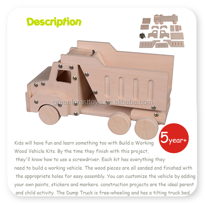Intelligent Children toys kit for Wood DIY Vehicle Truck
