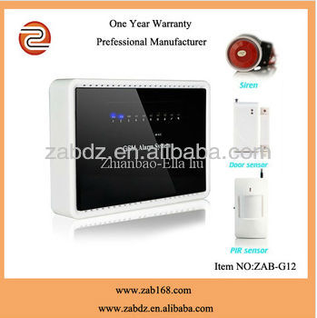 ZAB-G12,New type wireless multi-function intelligent GSM alarm systems,with door sensor,PIR motion sensor and sensor host
