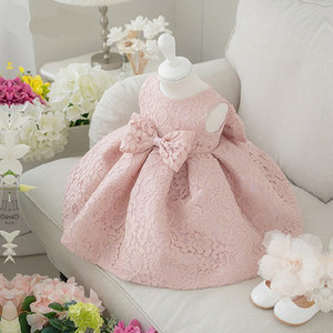 D0082 infant sundress pink lace bow baby girl spring baby dresses for weddings