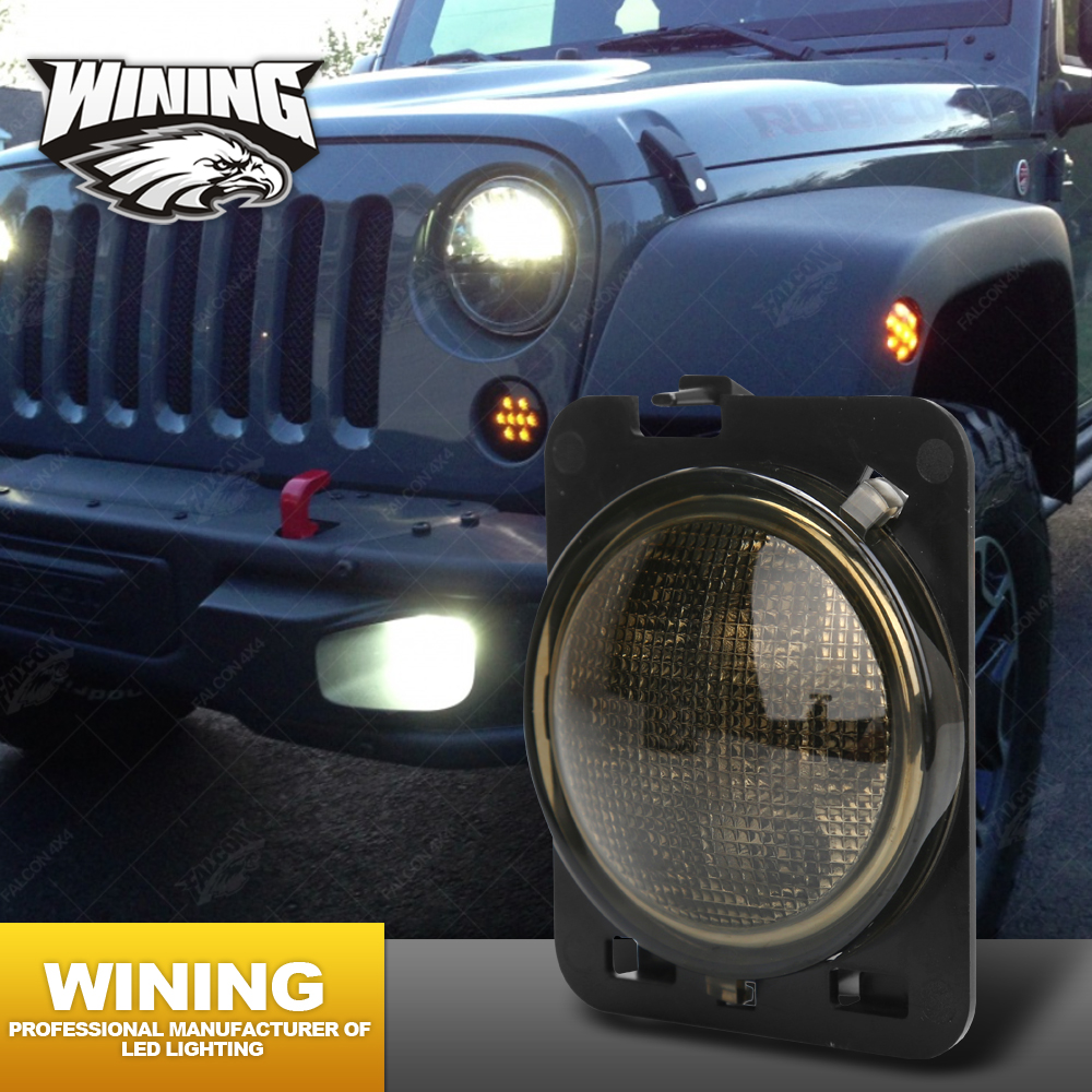 WINING Clear Parking Jeep led Side Marker lights Lens Kit LED Lights, Fender Side Marker Lamp for Jeep Wrangler JK Fender
