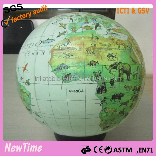 earth map inflatable world globe ball with animal print
