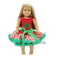 "18"" American Girl Doll Christmas Tree Red Tank Top with Red White Chevron Pettiskirt"