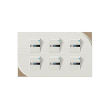 New arrival 6 gang 1 way electrical decorative wall switch plate with led indicator light