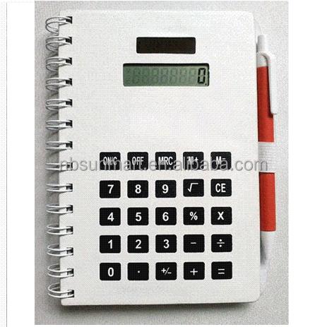 Calculator cover spiral notebook Solar calculator white
