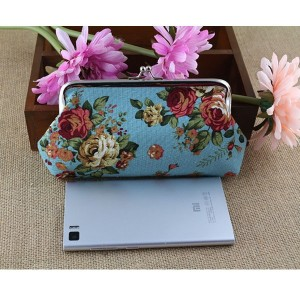 Women money change metal frame small women wallet with rose printing
