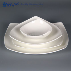 white clean fine porcelain dinnerware plate for cafe and restaurant