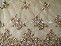 latest fashion embroidered tulle gold fabric with hand beaded lace fabric for bridal dress