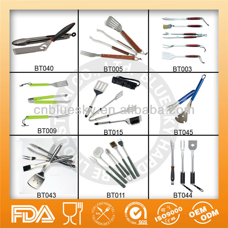 Hot sell FDA and LFGB certification snap on bag stainless steel bbq tools BBQ tools set