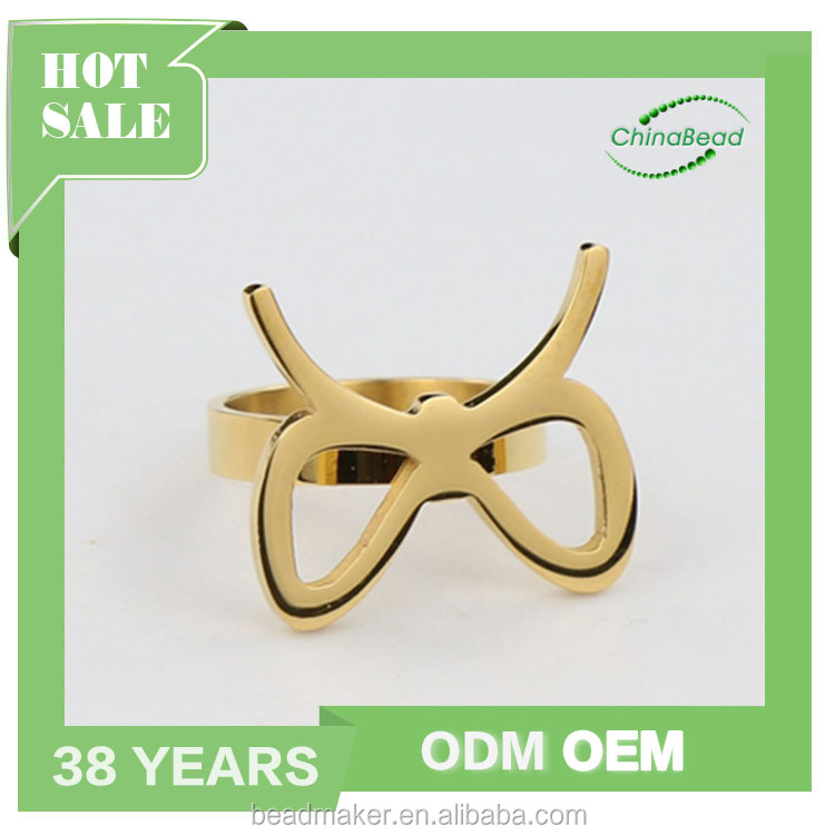 Fashion glasses design stainless steel rings gold plated size 13 rings for women