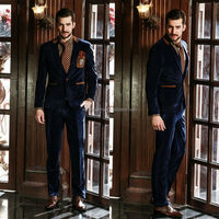 2014 New Arrival Blue One Button Pockets Men's Coat Pant Designs Wedding Suits Men's High-Class Suits NB0558