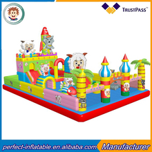commercial giant inflatable combo castle cartoons inflatable bouncy city sheep and wolf castle