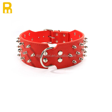Spiked studded leather dog collar for FEMALE dog