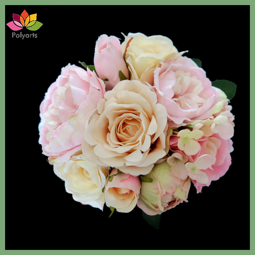 New Arrival Silk Wedding Ceremony Pink Rose Bouquet Artificial FLower for Party Home Decoration